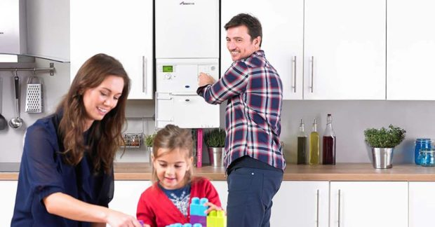 Happy Family using Gas Boiler